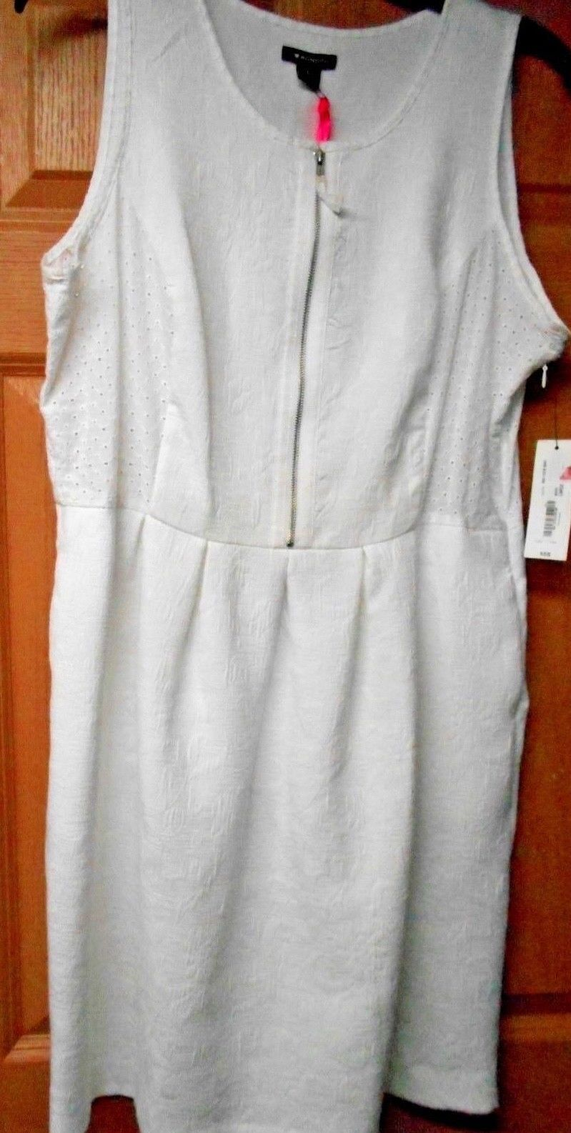 Primary image for New I Love Ronson Womens Sz L white Sleeveless Eyelet Dress Retails $58