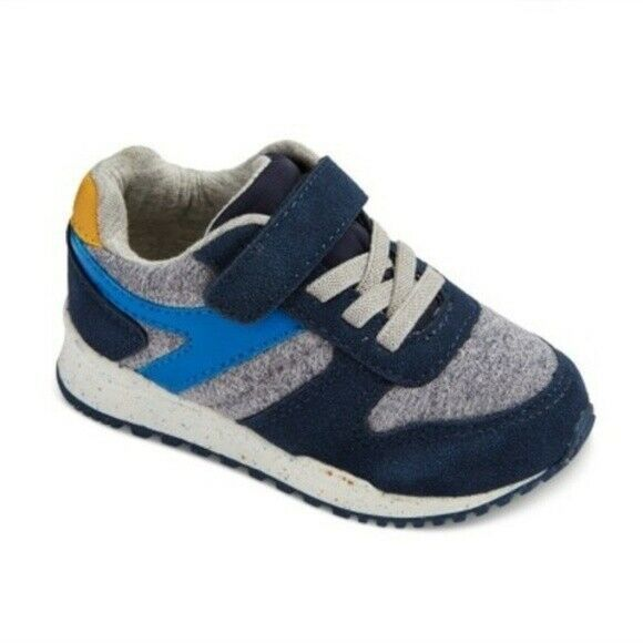 Cat & Jack Navy Yellow Boys Toddler Chase Jogger Sneakers Shoes Hook & Loop NWT