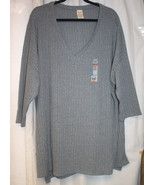 NEW WOMENS PLUS SIZE 4X 26W/28W GRAY RIBBED HACCI SWEATER KNIT TOP V NECK - $17.41
