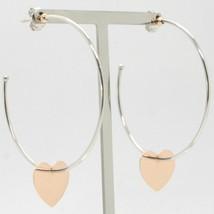 Pendientes de Oro Rosa Blanco 750 18Ka Círculos con Colgante Corazón Hec... - $431.64