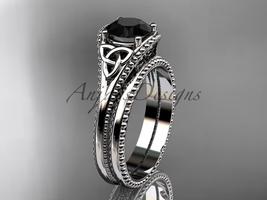 Black Diamond Celtic knot wedding rings sets platinum engagement ring CT7375S - $2,270.00
