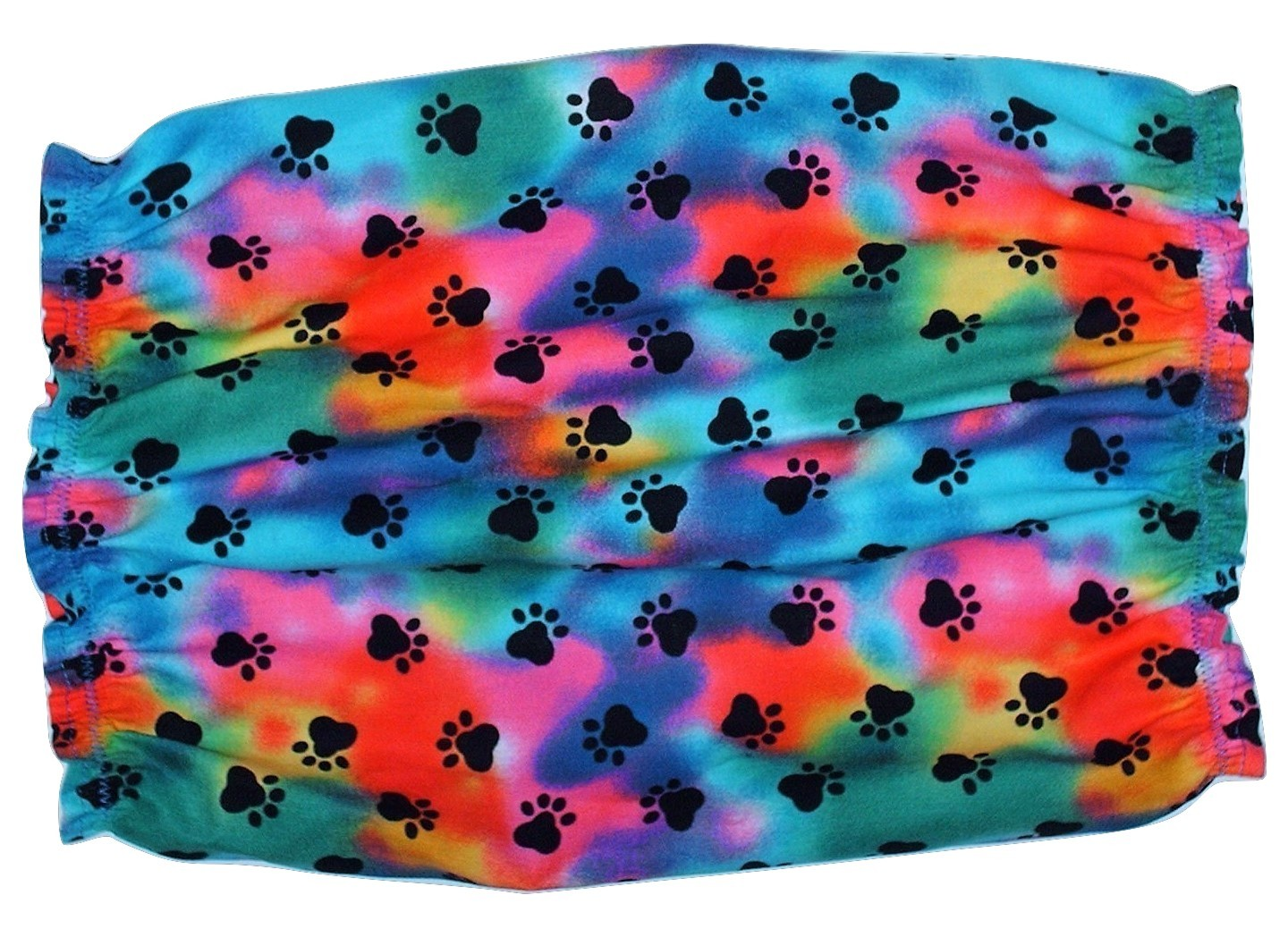 Dog Snood Rainbow Tie Dye Black Paw Prints Cotton by Howlin Hounds Size Large image 3