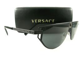 Versace Sunglasses VE2213 Black Gray 1009/87 New Authentic - $215.00