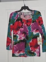 Caribb EAN Joe Knit Top Size S-PL- Pxl MULTI-COLOR Floral Stretch MSRP:$44.00 Nwt - $15.99