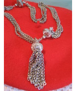 Silver Tone 4 strand Necklace Pendent Vintage 1... - $9.95