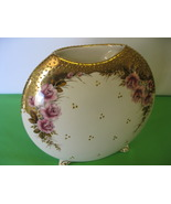 Greek Porcelain Vase White Gold, Pink Floral Footed 24K Gold Vase Made i... - $46.99