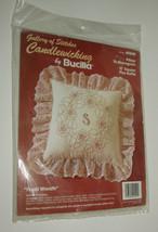 "Candlewicking Monogram Pillow Floral Wreath 12"" Square Plus Ruffle Bucil... - $12.60"