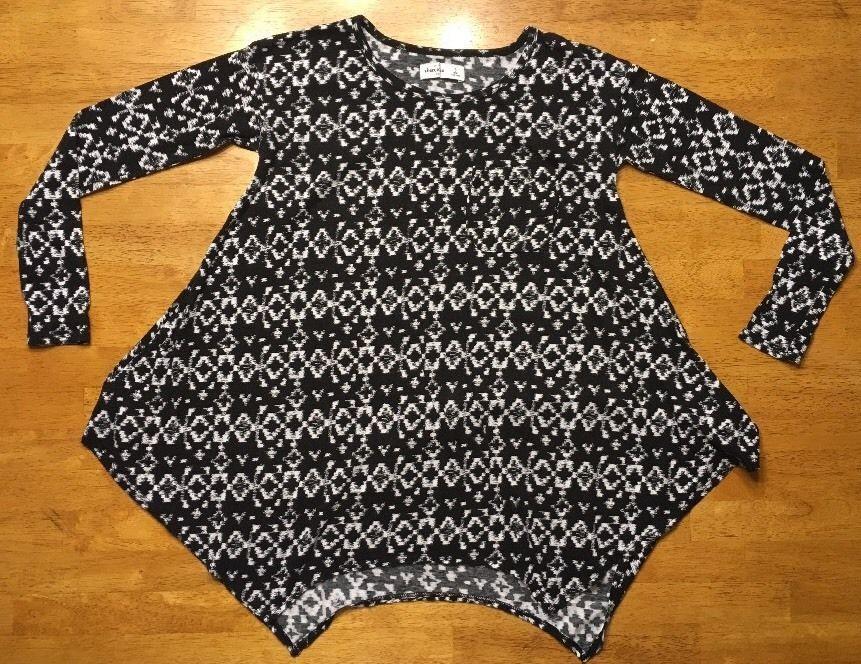 Abercrombie Kid's Girl's Black & White Long Sleeve Shirt - Blouse - Size: Small