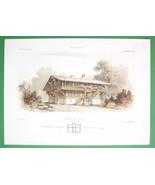 ARCHITECTURE COLOR PRINT : Potsdam Hunting Lodge Glienecke Swiss Villa View - $30.38