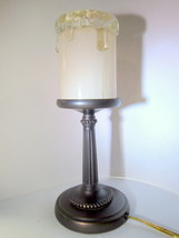 Night Light Electric Candle Lamp 12 inches Tall Brass Weighted Stand - $23.99