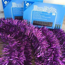 AGD Mardi Gra Decor - 25 ft Wired Purple Tinsel and  Purple Lights Bundl... - $26.95