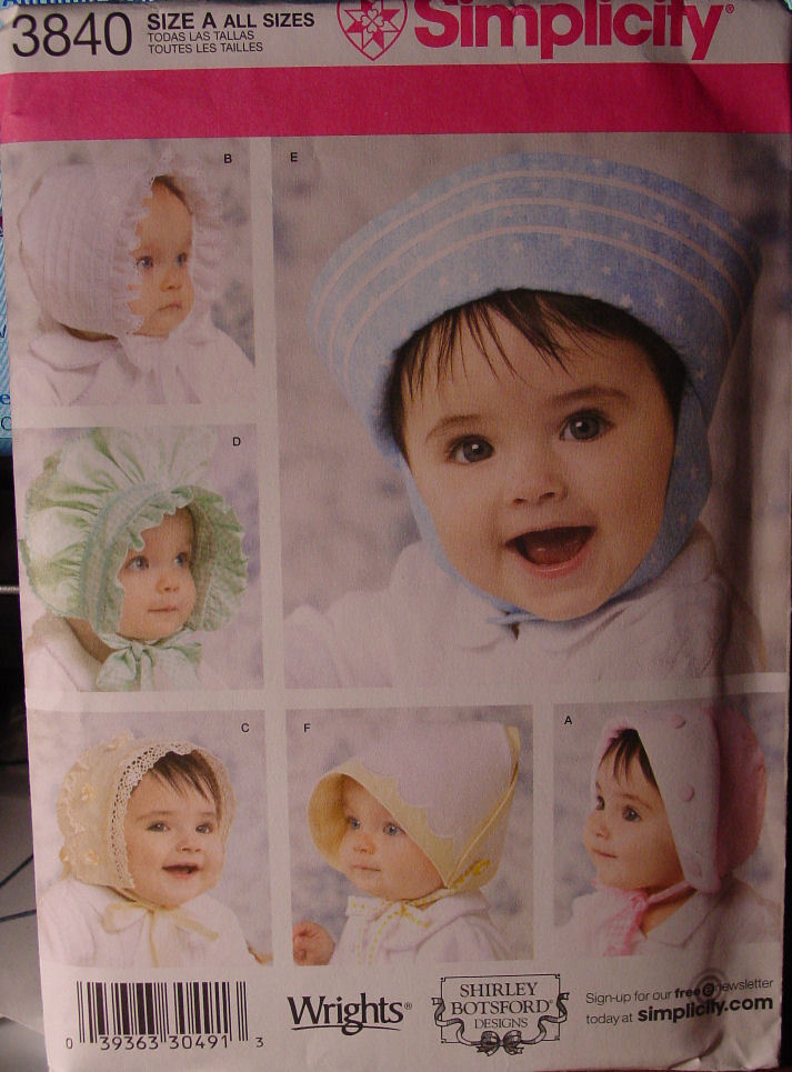 Primary image for Pattern 3840 Baby Bonnets and Hats -  multi sz , S, M,L