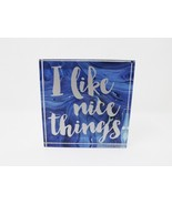 "Sixtrees Square 4.5"" Heavy Glass Paperweight - New - I Like Nice Things - $14.24"