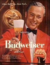 1958 Budweiser Beer Ad Anheuser Busch Vintage Bud  Bartender Bar Art! - $6.89