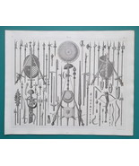 MILITARY Arms of Normans Anglo-Saxons Spears Daggers etc - 1844 Superb P... - $19.80