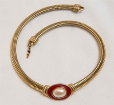 Monet Pendant Goldtone Choker Necklace Jewelry Vtg tob - $215.35