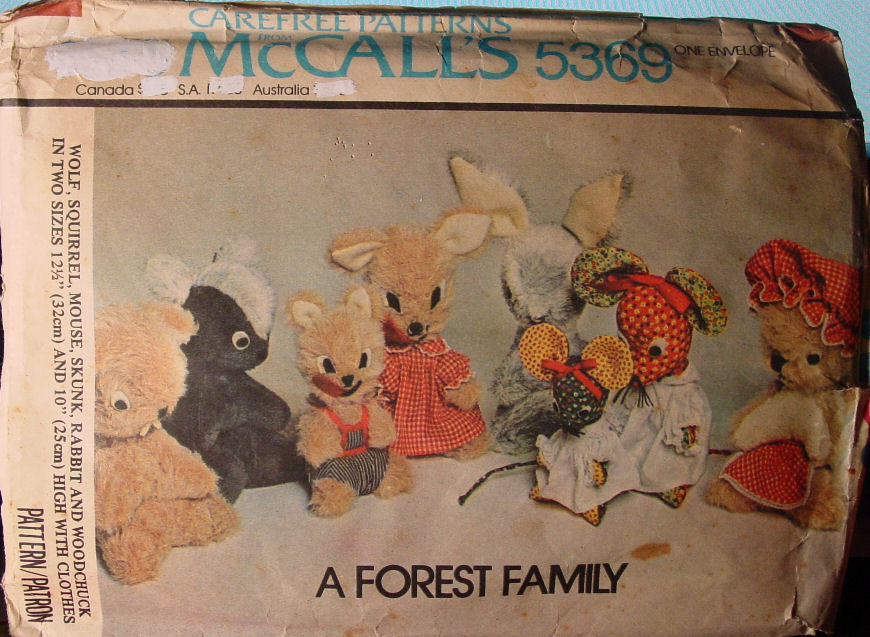 "Primary image for Vintage Pattern 5369 ""A Forest Family"" Stuffed Animals 1976 (used)"