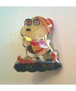 Vintage SNOOPY SKI BUM Travel Resorts Skiing Skier Lapel Pin - $14.99