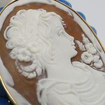925 STERLING SILVER BRACELET BEAUTIFUL BIG LADY FLOWER CAMEO & BLUE JADE, ITALY image 4