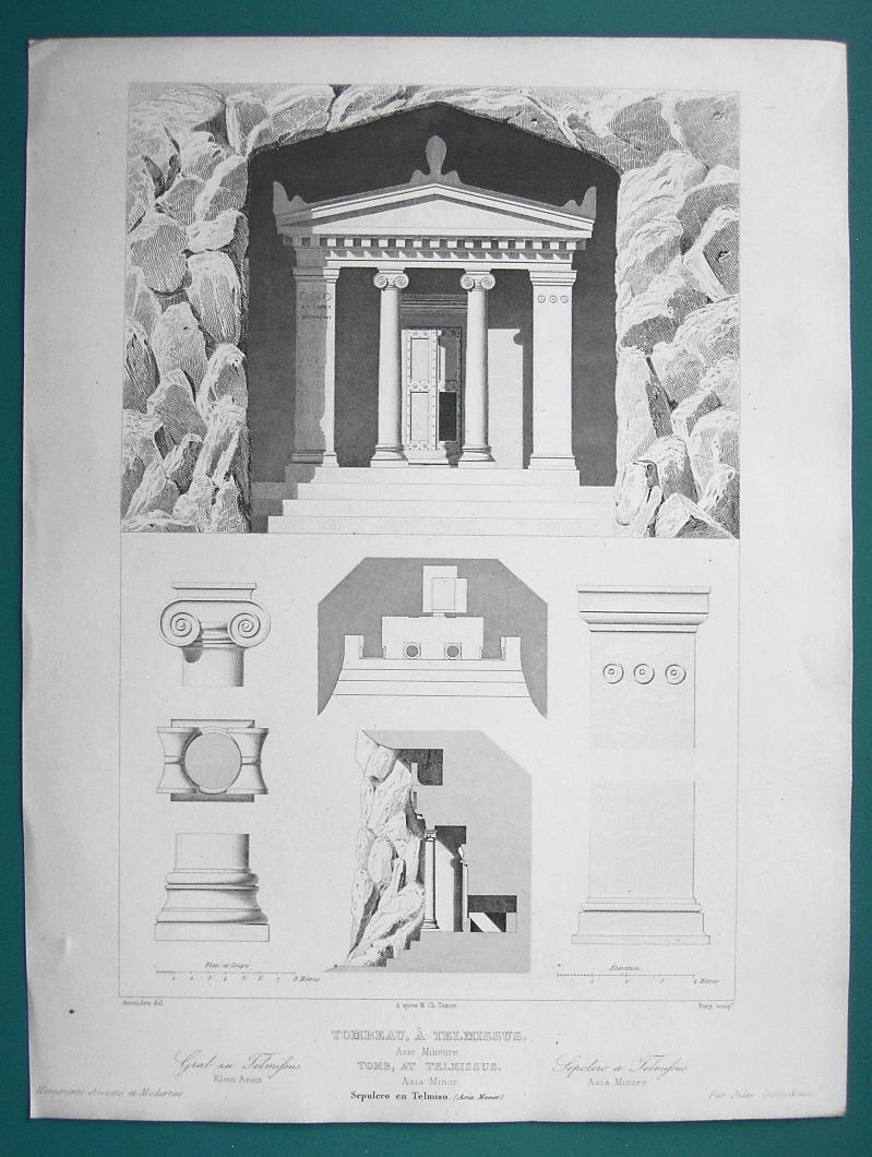 Primary image for ARCHITECTURE PRINT 1850 - GREECE Greek Tomb at Telmissus