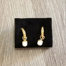 Vintage Avon Precious Choices Hoop Earrings White Marble Turquoise Howlite - $14.01