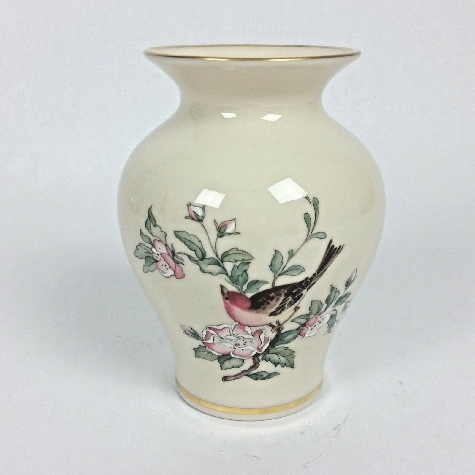 Lenox Porcelain China Serenade Floral Birds Bud Vase 24k Gold Rim 6""