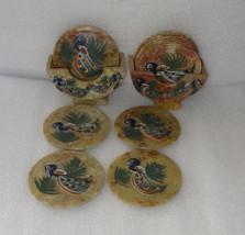 Marble Pcs of 2 Tea Coaster Peacock Art Dancing Beautiful Hand painted Decor Art - $42.64
