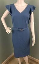 NWT Womens Tahari ASL Antique Blue V Neck Belted Sheath Dress Sz 14 - $49.49