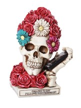 Floral Red Rose Skull Eternal Love Skull Collectible Figurine 6 inch Lov... - $24.74