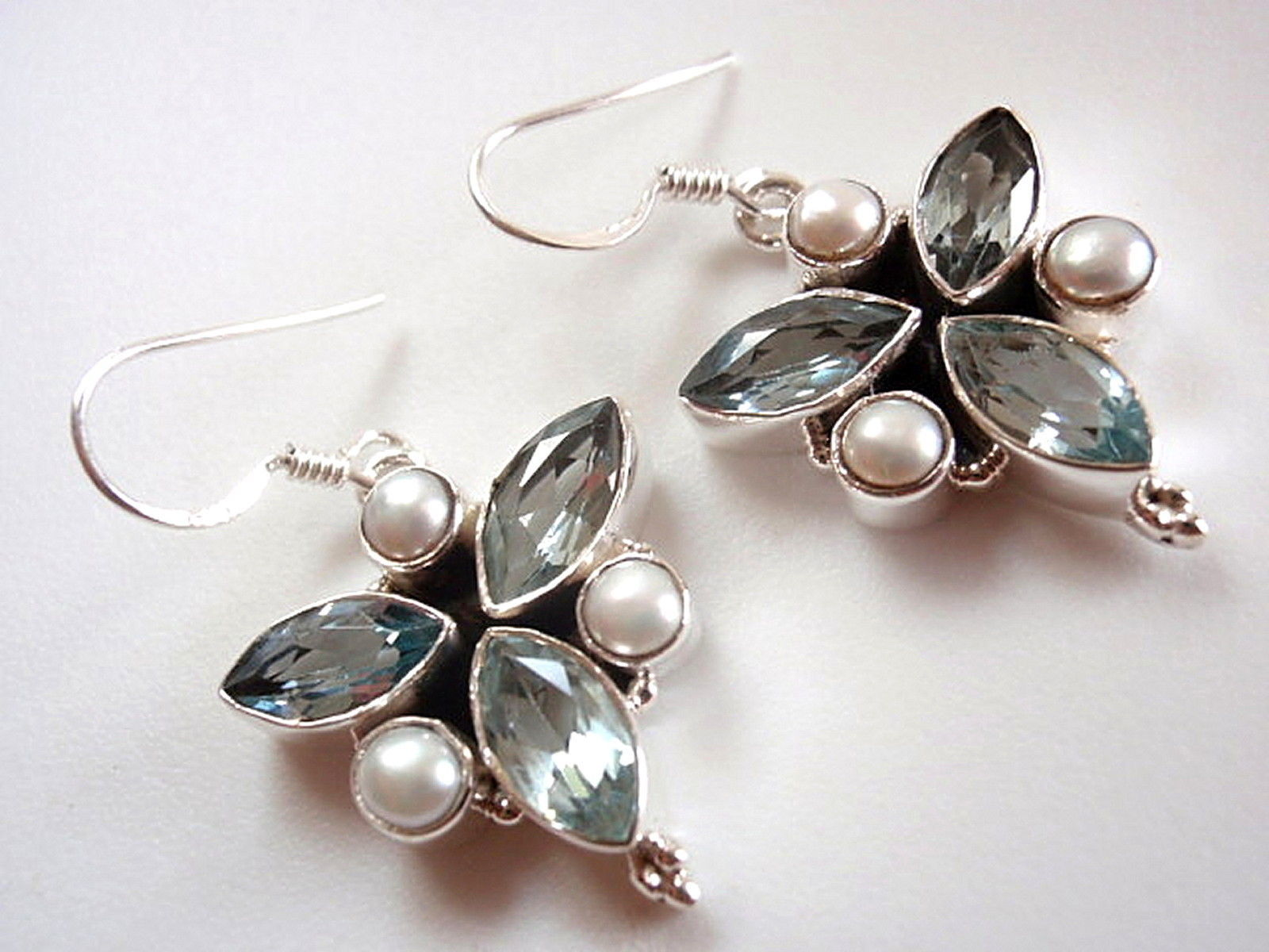 Primary image for Faceted Blue Topaz Marquise Pearl 6 Gemstone 925 Sterling Silver Dangle Earrings