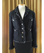 CHANEL Jacket Black Boucle Lesage CC Buttons on Front & Sleeves Blazer 42 - $2,227.50