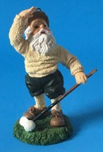 "Golfing Santa Claus Figurine Christmas Ornament Looking Up Resin 4.5"" - $14.95"