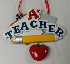 "A+ Teacher Christmas Holiday Ornament 3.75"" NOS Pencil Apple Notepad - $14.50"
