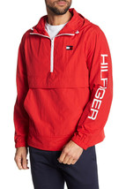 Tommy Hilfiger Taslan Retro Half-Zip Hooded Pullover, Red Berry, Size XL... - $64.34