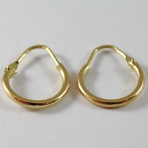 18K YELLOW GOLD ROUND CIRCLE EARRINGS DIAMETER 10 MM WIDTH 1.7 MM, MADE IN ITALY image 2