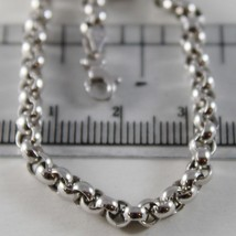 18K WHITE GOLD CHAIN 23.60 IN, BIG ROUND CIRCLE ROLO LINK, 4 MM MADE IN ITALY image 2
