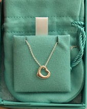 Tiffany & Co Elsa Peretti Sterling Silver 16mm Open Heart Pendant Necklace - $205.00