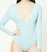 b20441ee99fa Forever 21 Plunging Surplice Long Sleeve Bodysuit Double V Neck Back Sea...  -