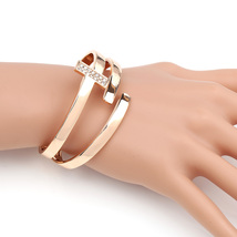 UE-Designer Rose Tone Hinged T-Bar Bangle Bracelet With Swarovski Style Crystals - $22.99