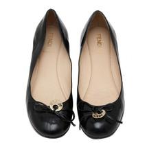 Auth FENDI Black Leather Round Toe Flats Ballerina Shoes With Logo Charm US 6.5 - $112.20