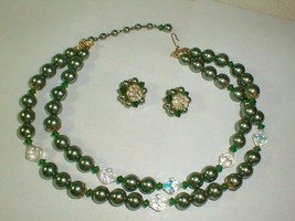 Lisner vintage costume jewelry necklace earrings set clear / greenish beads - $80.00
