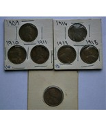 U.S. 1909, 1910, 1911, 1916, 1917, 1918, & 1919S Lincoln Wheat Copper Pe... - $20.00