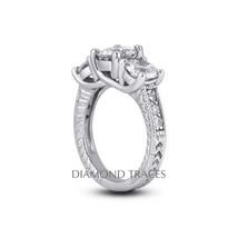 4.54ctw D-SI1 Ideal Round Genuine Diamonds 950 Plat. Engraved Trellis Ri... - $20,663.28