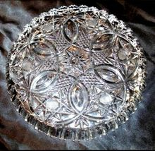 Cut Glass Serving Tray with Star Design AA18-11812 Antique Heavy image 3