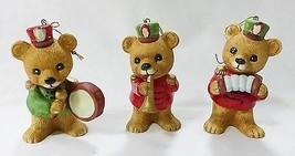 Vtg Homco bears christmas tree ornaments set of 3 porcelain holiday decor  - $17.82