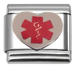 Medical Alert Heart with Caduceus 9mm Italian Charm Stainless Steel Modular Link - $7.91