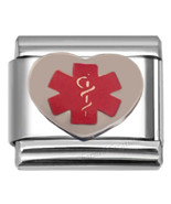 Medical Alert Heart with Caduceus 9mm Italian Charm Stainless Steel Modu... - $7.91