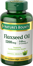 Nature's Bounty Flaxseed Oil 1200 mg, 125 Rapid Release Softgels, White - $27.71