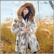 Russian Lynx Rex Rabbit Medium Length Racoon Fur Hooded Parka Coat Jacket