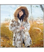 Russian Lynx Rex Rabbit Medium Length Racoon Fur Hooded Parka Coat Jacket - $371.95